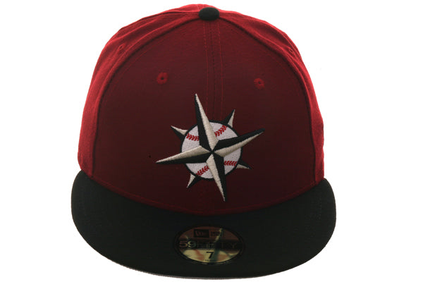 Hat Club Exclusive New Era 59Fifty Turn Ahead The Clock Seattle Mariners Fitted Hat - 2T Cardinal, Black