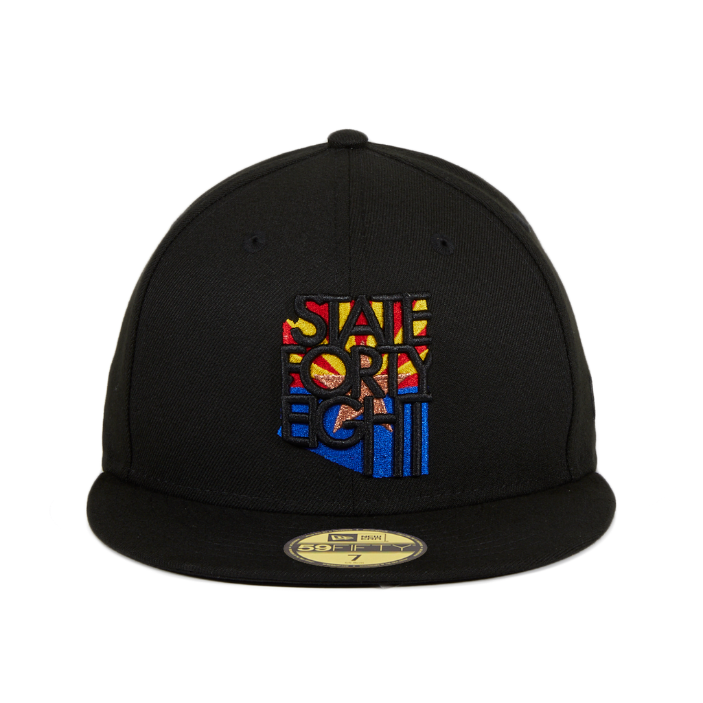 Exclusive New Era 59Fifty State Forty Eight Flag Logo Fitted Hat - Black