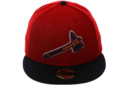 "Atlanta Braves Exclusive New Era 59Fifty ""BP Logo"" Hat - 2T Red, Navy"