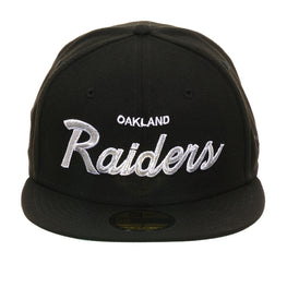 Exclusive New Era 59Fifty Oakland Raiders Retro Script Hat - Black
