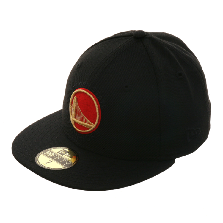 Exclusive New Era 59Fifty Golden State Warriors Alternate Hat - Black, Red, Metallic Gold
