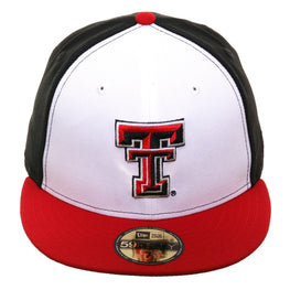 new concept cd84d 29a0a Exclusive New Era 59Fifty Texas Tech Red Raiders Rail Hat - White, Black,  Red