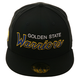Exclusive New Era 59Fifty Golden State Warriors Script Hat - Black, Gold, Royal