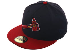 "Atlanta Braves Exclusive New Era 59Fifty ""BP Logo"" Hat - 2T Navy, Red"