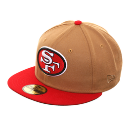 Exclusive New Era San Francisco 49ers 1968 Hat - 2T Khaki, Red