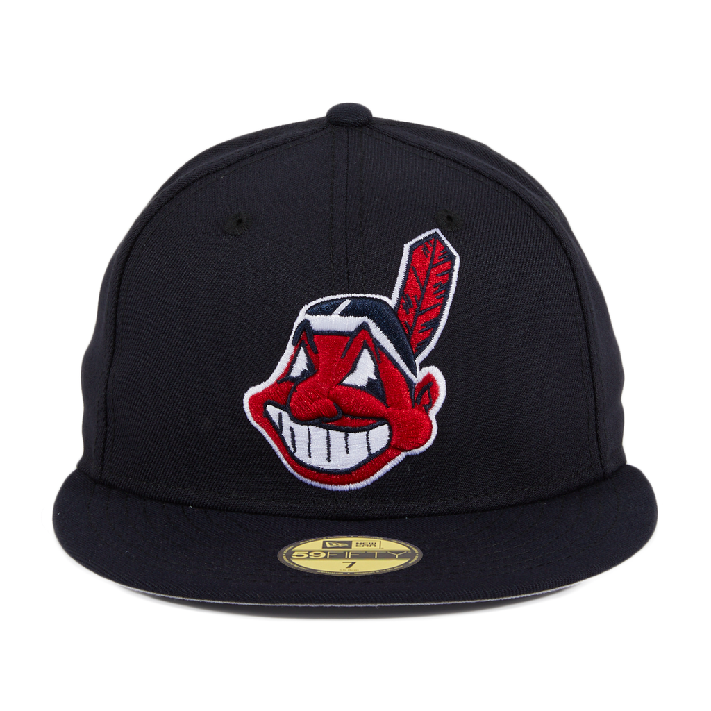 New Era 59Fifty Retro On-Field Cleveland Indians 1994 Road Wahoo Hat - Navy