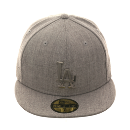 Exclusive New Era 59Fifty Los Angeles Dodgers Metal Badge Hat - Heather Gray, Silver
