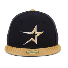 Exclusive New Era 59Fifty Houston Astros 1997 Hat - 2T Navy, Metallic Gold