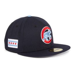 Exclusive New Era 59Fifty Chicago Cubs City Flag Hat - Navy