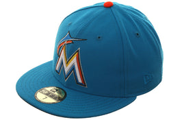 Exclusive New Era 59Fifty Miami Marlins Hat - Light Blue