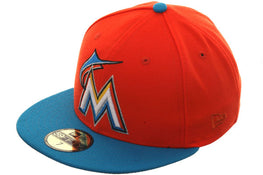 Exclusive New Era 59Fifty Miami Marlins Hat - 2T Orange, Light Blue