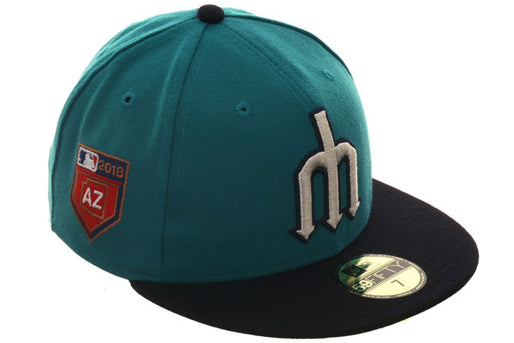 Exclusive New Era 59Fifty Seattle Mariners 2018 Spring Training Patch Hat - 2T Teal, Navy