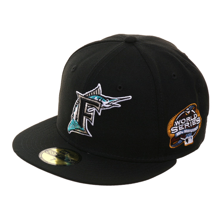 2d52d1bf2 New Era 59Fifty Florida Marlins 2003 World Series Patch Hat - Black