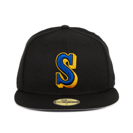 Exclusive New Era 59Fifty Seattle Mariners 1987 Hat - Black, Royal, Gold