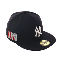 Exclusive New Era 59Fifty New York Yankees USA Flag w/ Red Undervisor Hat - Navy, White