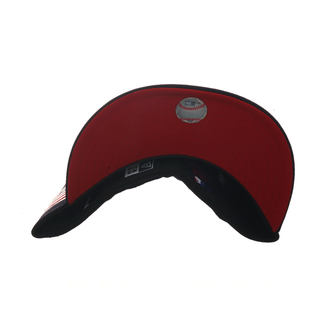 73bccbdd56a Exclusive New Era 59Fifty New York Yankees USA Flag w  Red Undervisor Hat -  Navy