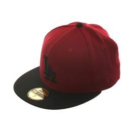 Exclusive New Era 59Fifty Los Angeles Dodgers Hat - 2T Cardinal, Black