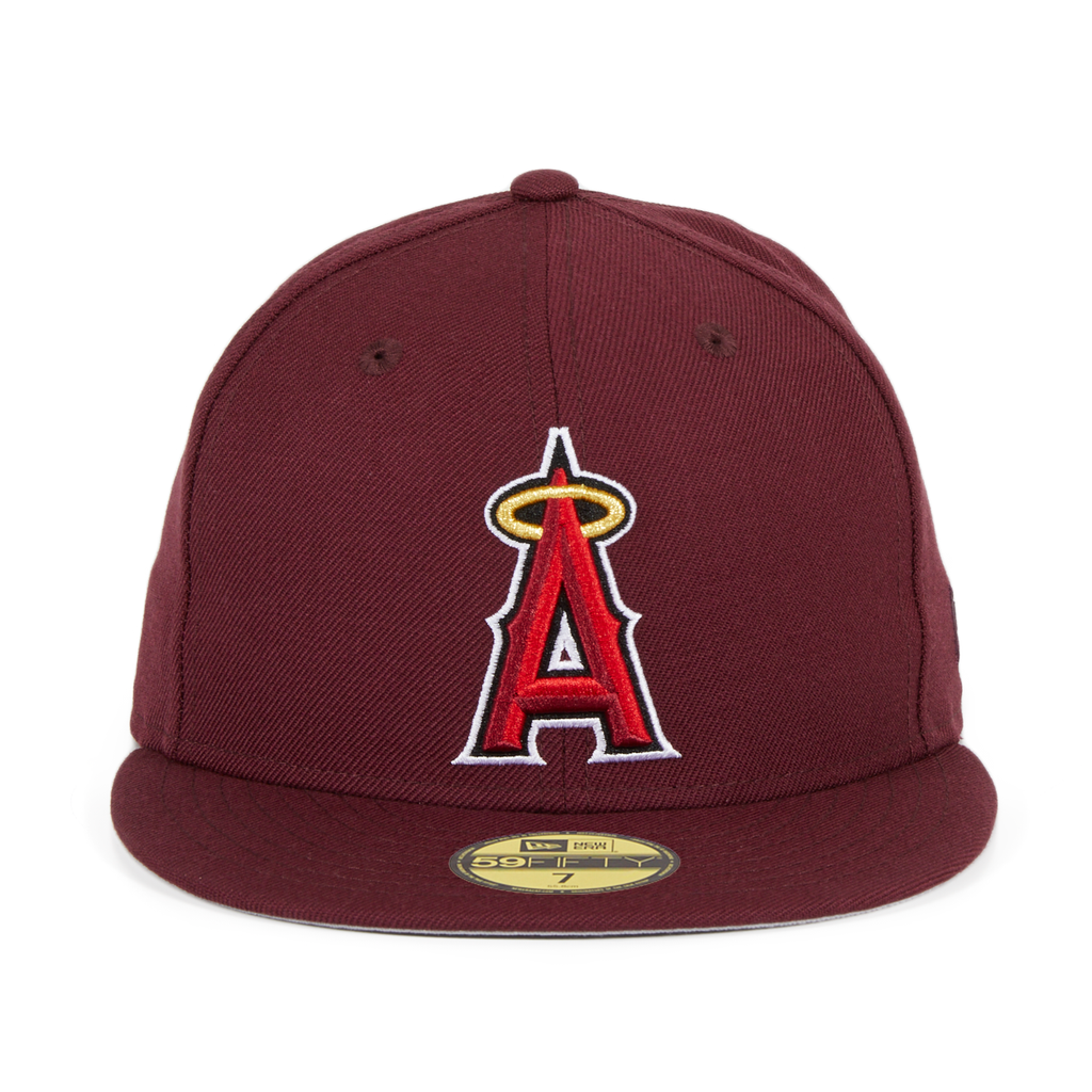 Exclusive New Era 59Fifty Los Angeles Angels Hat - Maroon, Red, Metallic Gold
