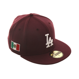 Exclusive New Era 59Fifty Los Angeles Dodgers Mexico Flag Hat - Maroon, White
