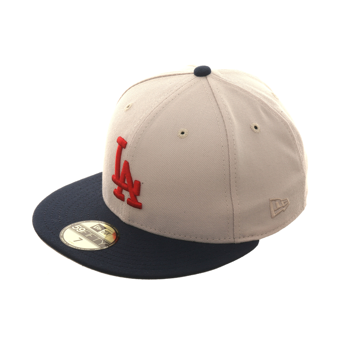 Exclusive New Era 59Fifty Los Angeles Dodgers Hat - 2T Stone, Navy, Red