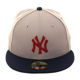 Exclusive New Era 59Fifty New York Yankees Hat - 2T Stone, Navy