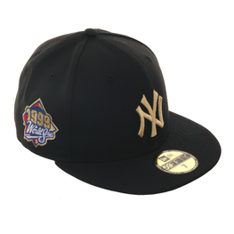 Exclusive New Era 59Fifty New York Yankees 1999 World Series Patch  Hat - Black, Metallic Gold