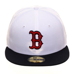 Exclusive New Era 59Fifty Boston Red Sox Hat - 2T White, Navy