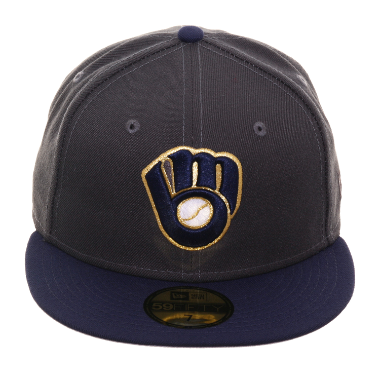 more photos 72a66 dce9e Exclusive New Era 59Fifty Milwaukee Brewers Alternate Hat - 2T Graphit – Hat  Club