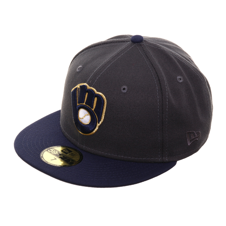 Exclusive New Era 59Fifty Milwaukee Brewers Alternate Hat - 2T Graphite, Light Navy