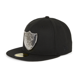 Exclusive New Era 59Fifty Oakland Raiders Metal Emblem Hat - Black, Metallic Silver