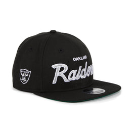 Exclusive New Era 9Fifty Oakland Raiders Script Snapback Hat - Black