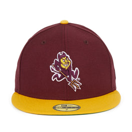 Exclusive New Era 59Fifty Arizona State University Sparky Hat - 2T Maroon, Gold