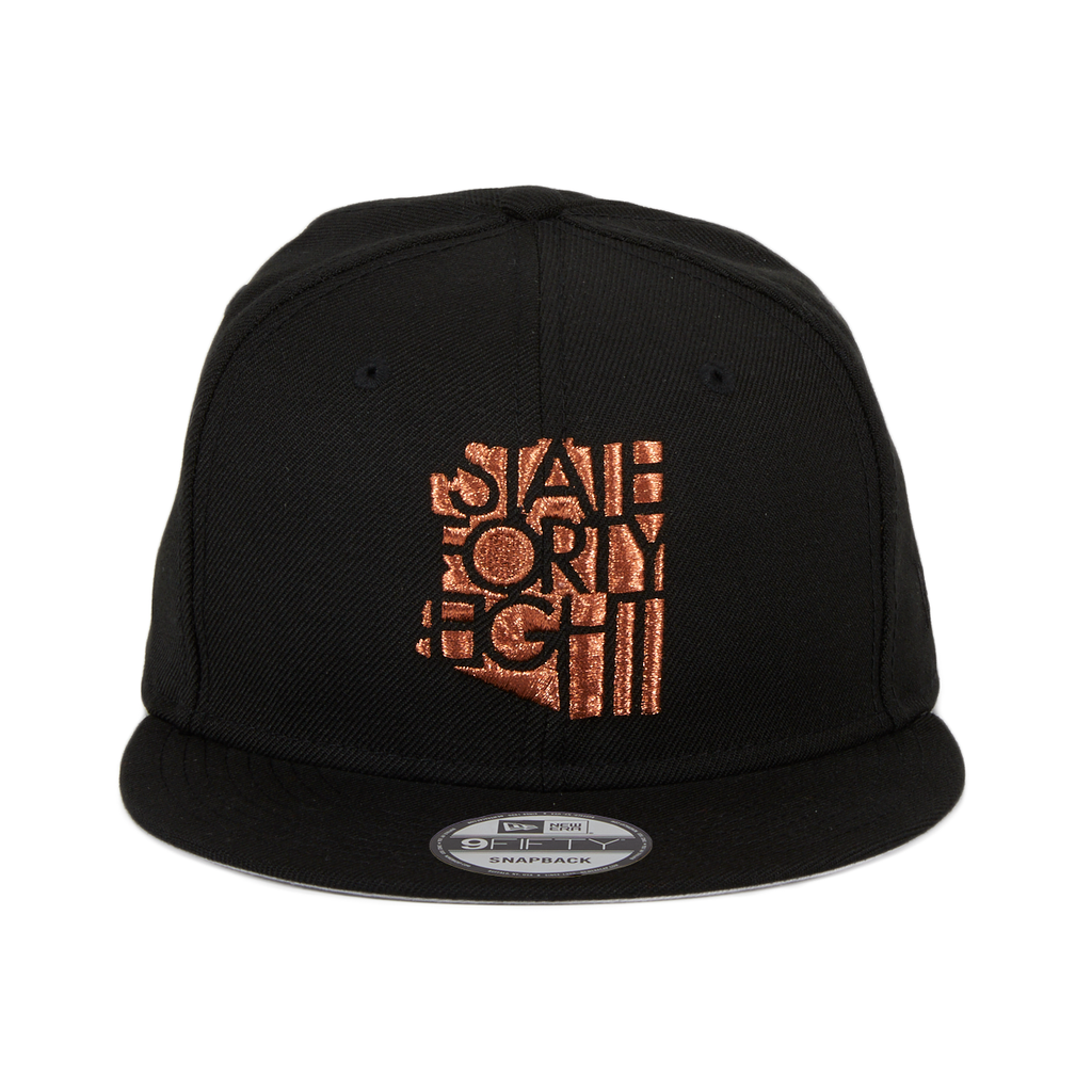 Exclusive New Era 9Fifty State Forty Eight Classic Snapback Hat - Black, Metallic Copper