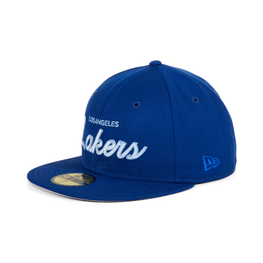 Exclusive New Era 59Fifty Los Angeles Lakers Script Hat - Royal, White, Light Blue