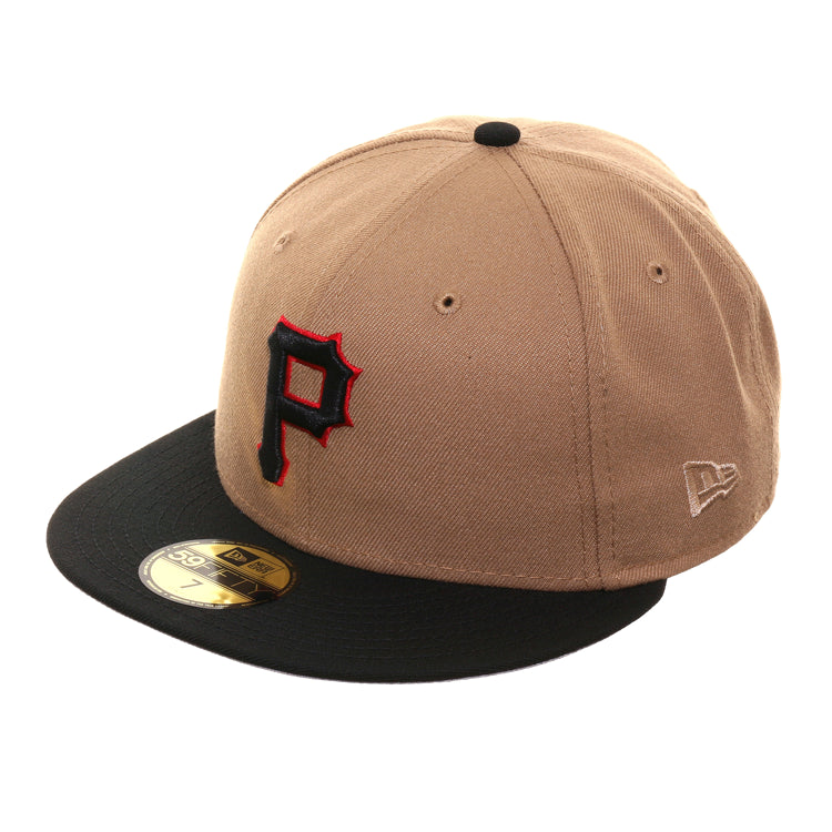 Exclusive New Era 59Fifty Pittsburgh Pirates Hat - 2T Khaki, Black
