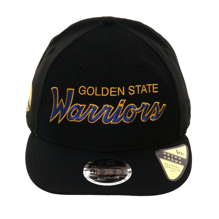 New Era 9Fifty Golden State Warriors Script Retro Crown Snapback Hat - Black