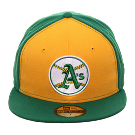 Exclusive New Era 59Fifty Oakland Athletics 1968 Logo Rail Hat - Gold, Kelly Green