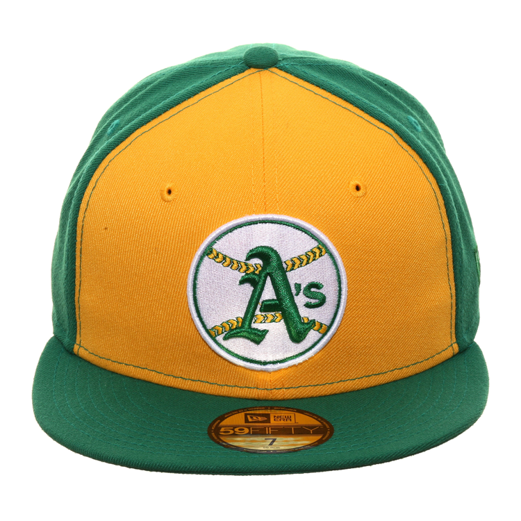 Exclusive New Era 59Fifty Oakland Athletics 1968 Logo Rail Hat - 2Tone Gold, Kelly Green