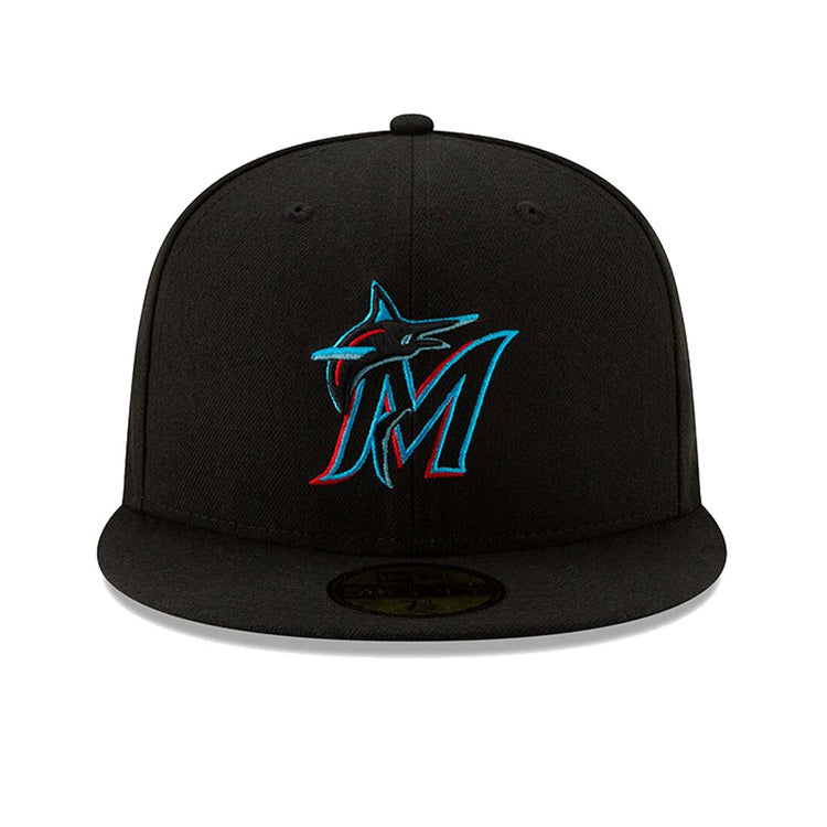 check out 3f0ff 6e02f New Era 59Fifty Authentic Collection Miami Marlins Game Hat - Black – Hat  Club