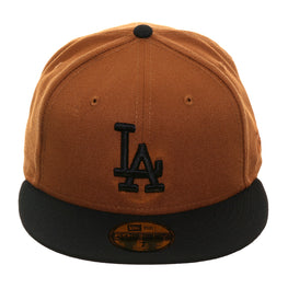 Exclusive New Era 59Fifty Los Angeles Dodgers Hat - 2T Tan, Black