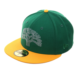 Exclusive New Era 59Fifty The Town Tree Hat - 2T Kelly Green, Gold