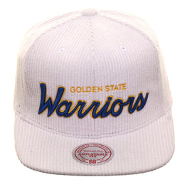 Mitchell & Ness Golden State Warriors Corduroy Script Snapback - White