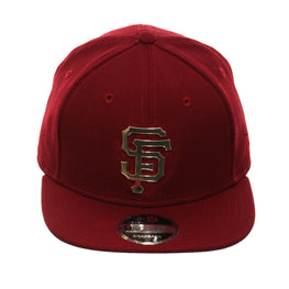 Exclusive New Era 9fifty San Francisco Giants Metal Logo Snapback Hat - Cardinal, Metallic Gold
