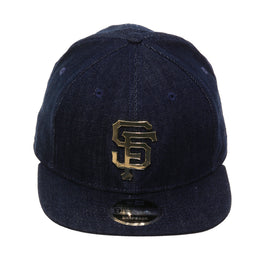 Exclusive New Era 9fifty San Francisco Giants Metal Logo Snapback Hat - Denim, Metallic Gold