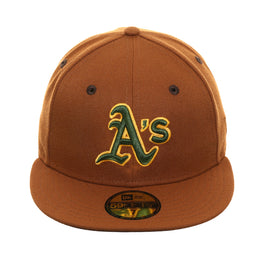 Exclusive New Era 59Fifty Oakland Athletics Hat - Khaki, Green, Gold