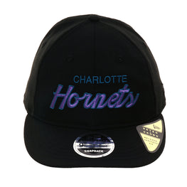Exclusive New Era 9fifty Charlotte Hornets Script Retro Crown Snapback Hat - Black