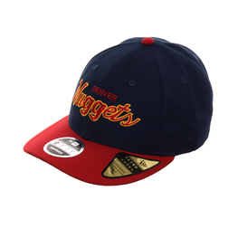 Exclusive New Era 9Fifty Denver Nuggets Retro Crown Snapback Hat - 2T Navy, Cardinal