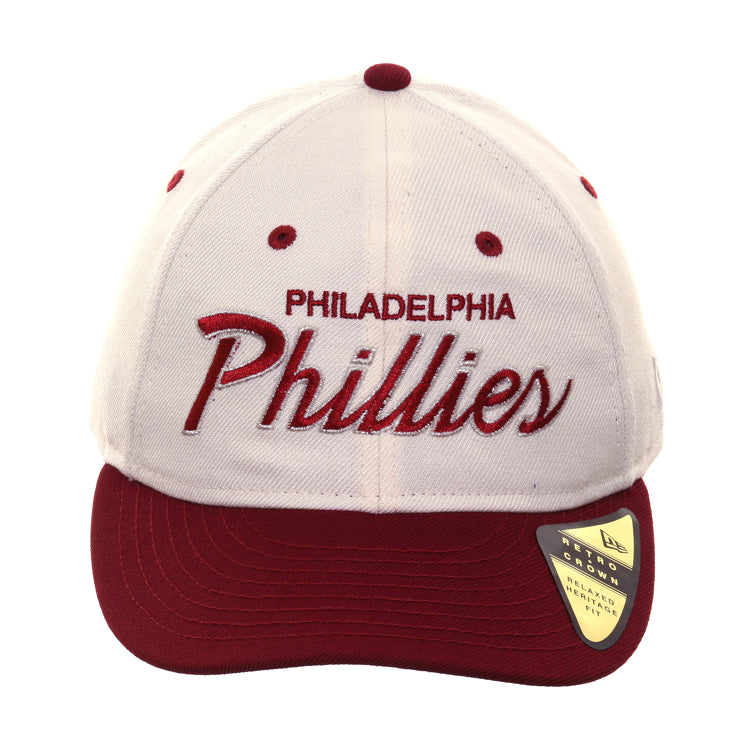 newest ca995 f35d2 Exclusive New Era 9fifty Philadelphia Phillies Script Retro Crown Snap – Hat  Club