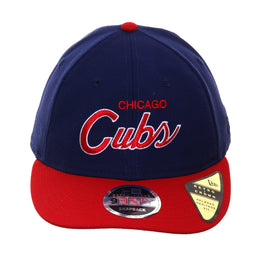 Exclusive New Era 9Fifty Chicago Cubs Script Retro Crown Snapback Hat - 2T Royal, Red