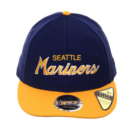 detailed look a21de 6a36f Exclusive New Era 9fifty Seattle Mariners Script Retro Crown Snapback Hat -  2T Royal, Gold